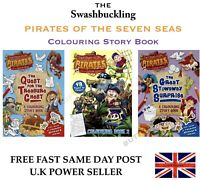 Large A4 Childrens Kids Pirate Fun Colouring Story Books Brand New