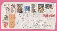 Sur Env. Reco. CAD ANNECY du 17-9-1986 sur 11 timbre et 1 vignette d'affranchiss