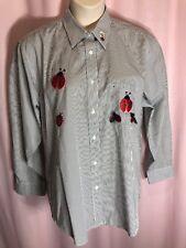 "Nwot-LasOlas L 46""Bust Xl/1X? Striped Lady Bugs Casual Blouse Top Shirt K26"