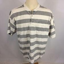 Vintage 80's 90s Blank Grunge Skate Surf Bold Stripe T Shirt Henley Button XL