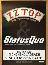 STATUS QUO - ZZ TOP  2017  MÖNCHENGLADBACH -- Tour Poster - Concert Poster