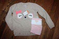 NWT Gymboree Polar Pink 4T Set Tan Owl Sweater Pink Striped Leggings Pants