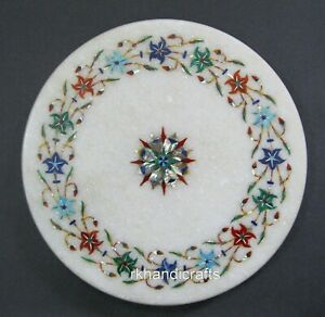 10 Inches Marble Chapati Tortilla Board Inlay Platter with Floral Pattern Work