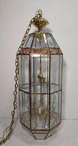 Vintage Fredrick Ramond Hanging 12-Light Candelabra Chandelier Beveled Glass