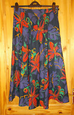 GOR-RAY black purple blue green orange floral vintage midi flared skirt 14 40 42