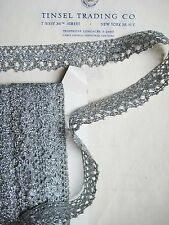 "4 yards Flashy European Silver Metallic Scallop Lace 1 1/8"" Trim"