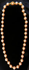 Wm deLillo Faux Pearl & Yellow Etched Plastic Bead GoldTone Necklace 29""