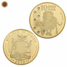 WR 2015 African Wildlife Lion GOLD Coin Zambia 10000 Kwacha Collection Coin 24K