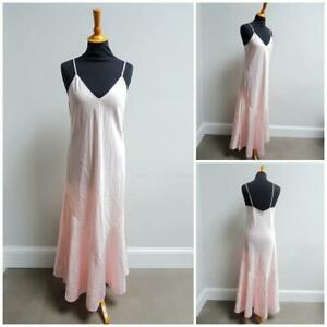 Vintage Nightgown Slip Bias Cut 1930s Peach Satin Lingerie Ladies Full Length