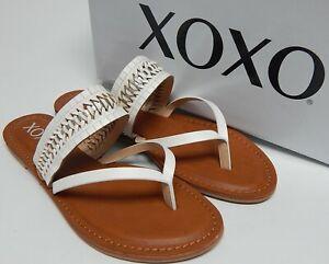 Xoxo Robby Sz 8.5 M EU 40 Women's Woven Strap Slide Thong Sandals White XO211152
