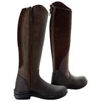 Toggi Ladies Quartz Equestrian Long Full Length Leather Riding Boots Brown New