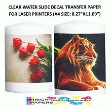 CLEAR WATER SLIDE DECAL TRANSFER PAPER FOR LASER PRINTERS: 50 SHEETS (A4 SIZE)