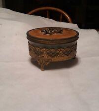 #3 Vintage Gold Ornate Powder Container w/glass holder & Powder Puff