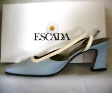 ESCADA WOMEN'S BLUE NUBUCK SLINGBACK HEELS - Shoes Made in Italy 6-1/2B