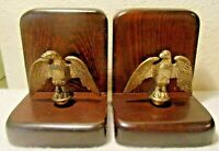 Pair of Primitive Vintage Bald Eagle Bookends GOLD Brass WITH WOOD BASES BIRDS