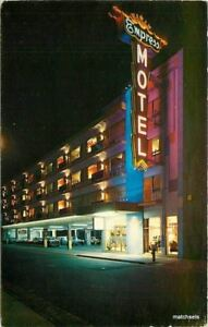 Atlantic City New Jersey 1950s Night Neon Empress Motel Bard postcard 8105