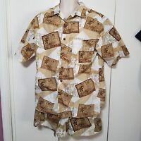 Roundtree & Yorke Swim Trunks and Shirt with Hawaii Postcard Print Size Medium