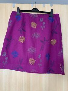White Stuff Ladies Skirt Size 12, VGC, Pink, Floral/bird Detail, Lined, Wool Mix