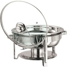More details for stainless steel round chafing dish glass lid 4.5 litre 30cm diameter