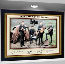 THE BEATLES signed autograph Music Art pre-print poster Framed