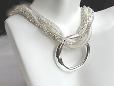 NECKLACE Silver Multi-Chain with Large Hammered Silver Eternity Pendant Classy!!