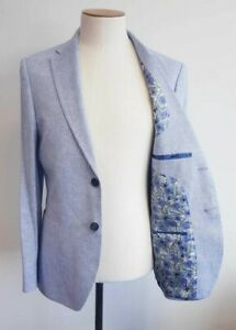 Men's T.M.LEWIN Gainsborough Slim Fit Jacket in Blue Herringbon Ref 65524 / 7518