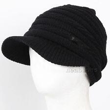brim BEANIE visor chic best winter Hats man woman ski snowboard Cap 5C4C black