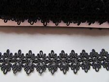 Black Loop Knit 2.5cm Gimp Braid X 1 Metre   Sewing/Costume/Crafts/Corsetry