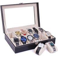 12 Slots Leather Black Watch Box Display Case Organizer Top Glass Storage Holder