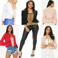 New Women's Ladies Frill Ruffle Bell Sleeve Peplum Blazer Top Jacket UK 8-26