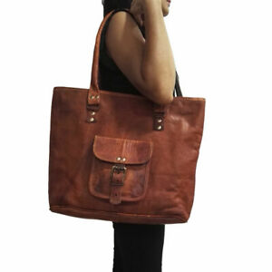 Women's handmade vintage genuine leather shoulder tote bag purse