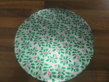 """5 x 10"""" ROUND PATTERNED CHRISTMAS CAKE BOARDS  HOLLY DESIGN"""