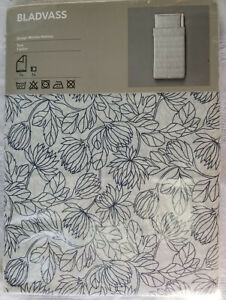 IKEA Bladvass TWIN Single Duvet Cover and Pillowcase Set BLUE White FLORAL Leaf