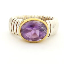 925 Sterling Silver Chunky Fluted Band AMETHYST Gemstone Two Tone Ring. Size P.5
