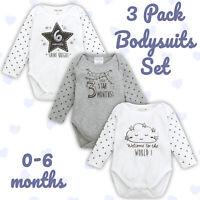 Newborn Baby Girls Boys 3 Pack Set Bodysuit Babygrow Long Sleeve Size 0-6 Months