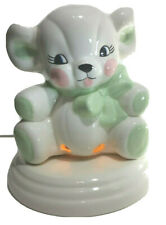 Vintage Adorable Glazed Ceramic Teddy Bear Light Lamp Baby's Room Night Light