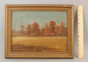 Sm 19thC Antique GEORGE W KING American Impressionist Autumn Landscape Painting