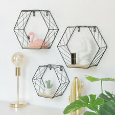Modern Geometric Hexagon Metal Wire Wall Shelf Unit Storage Holder Wood Rack