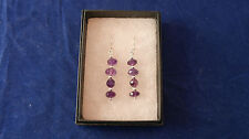 Beautiful Earrings With Faceted Amethyst 2.5 Gr. 3.5 Cm.Long + Hooks In Gift Box