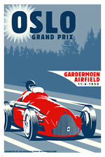 oslo grand prix 1950 vintage automobile race poster 24X36 RED SPORTY CLASSIC