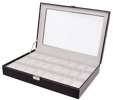 Brown Large 24 Grid Jewelry Watch Leather Display Box Glass Top Organizer Case