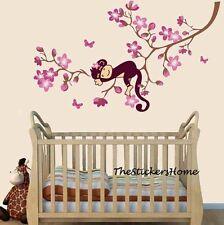 Monkey & Pink Flower Blossom Tree Wall stickers Reusable Girl Kids Nursery Decal
