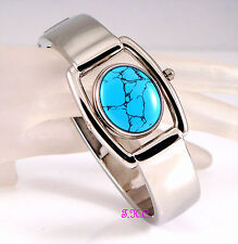 Rare Vintage Deco Genuine Turquoise Gemstone Fob Spinner Dial Bangle Cuff  Watch