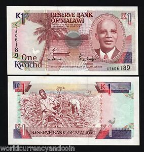MALAWI AFRICA 1 KWACHA P23 Bundle x 100 Pcs Lot 1992 BOAT BANDA UNC BANK NOTE