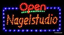 "XXL LED ""Open Nagelstudio"" -Schild|Leuchtreklame|Stopper|Neon|Werbung|EXTRA HELL"