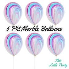Marble Pastel Balloons Unicorn Swirl Birthday Party Supplies Decoration 28cm 6pk
