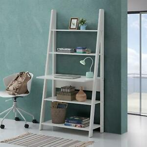 Riva Scandinavian Retro Ladder Bookcase Desk Shelving Shelf Unit White 5 Tier