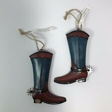 Western Christmas Ornaments Metal Cowboy Boots Set of 2 Holiday Tree  Decoration