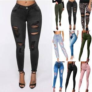 Women Ripped Skinny Denim Jeans High Waist Jeggings Pants Stretch Slim Trousers
