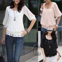 AU SELLER Women's Girl's Chiffon patchwork Cotton Blouse Base Top T-shirt T019